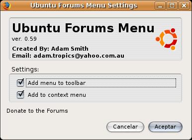Preferencisa de aspecto de ubuntu forums menu