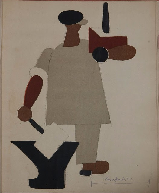 Russian placards, 1917-1922 (Vladimir Lebedev) - A workman with nationalised entreprises in his hands