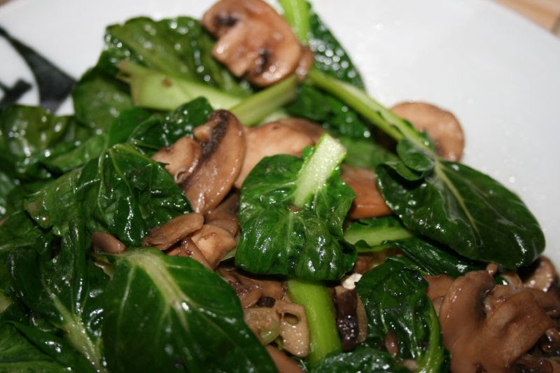 Tatsoi with Mushrooms and Garlic over Zaru Tofu -3