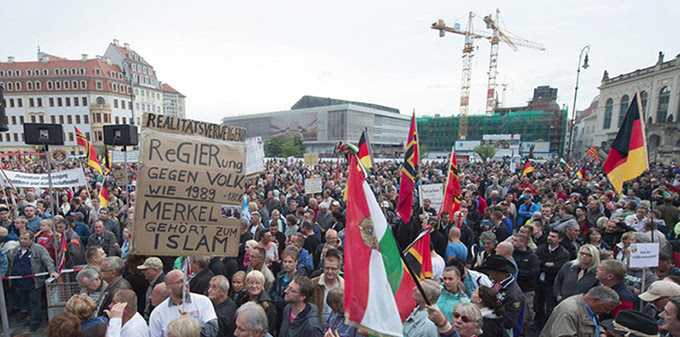 anti - immigration protest in dresden, germany, september 2015