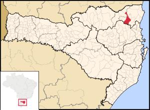 Map locator of Jaraguá do Sul, Santa Catarina.