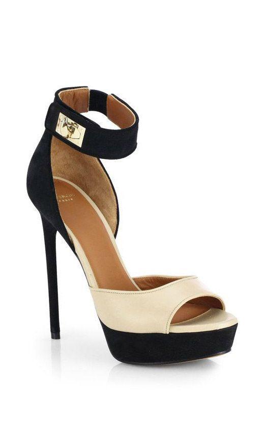 Givenchy Beige Bicolor Leather Suede Platform Sandals