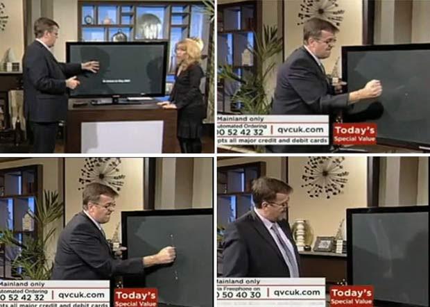 Em março de 2010, um apresentador de um canal de vendas na Inglaterra quebrou a tela de uma TV de LCD que, garantia ele, era resistente a qualquer pancada. (Foto: Reprodução)