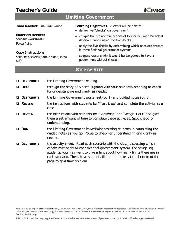 Limiting Government Icivics Worksheet Answer Key - worksheet