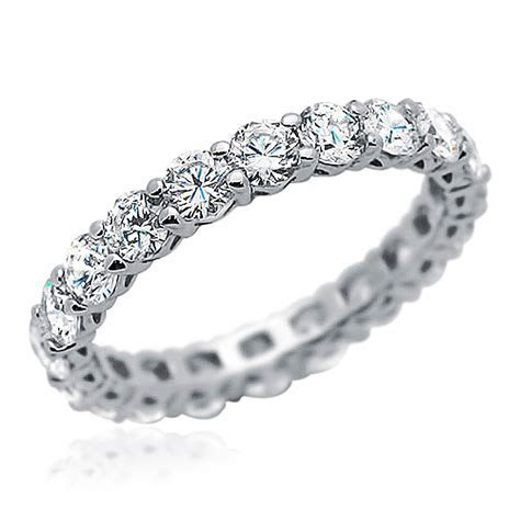 3.3mm Rhodium Plated Silver Wedding Ring CZ Eternity