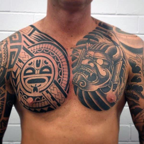 50 Tribal Chest Tattoos For Men Masculine Design Ideas