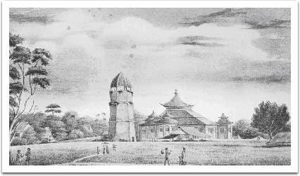 Hasil gambar untuk Sketsa Masjid Agung Palembang tahun 1848. Sketsa ini dibuat setelah renovasi oleh Belanda pada tahun 1823