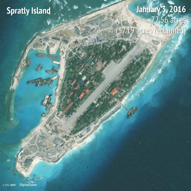 Spratly Island 2016 | 37.19 acres reclaimed
