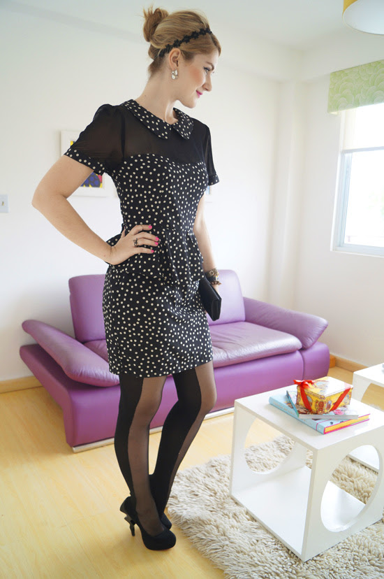 Tights and Peplum Dress Outfit