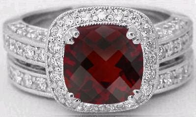Cushion Cut Garnet and Diamond Halo Engagement Ring and