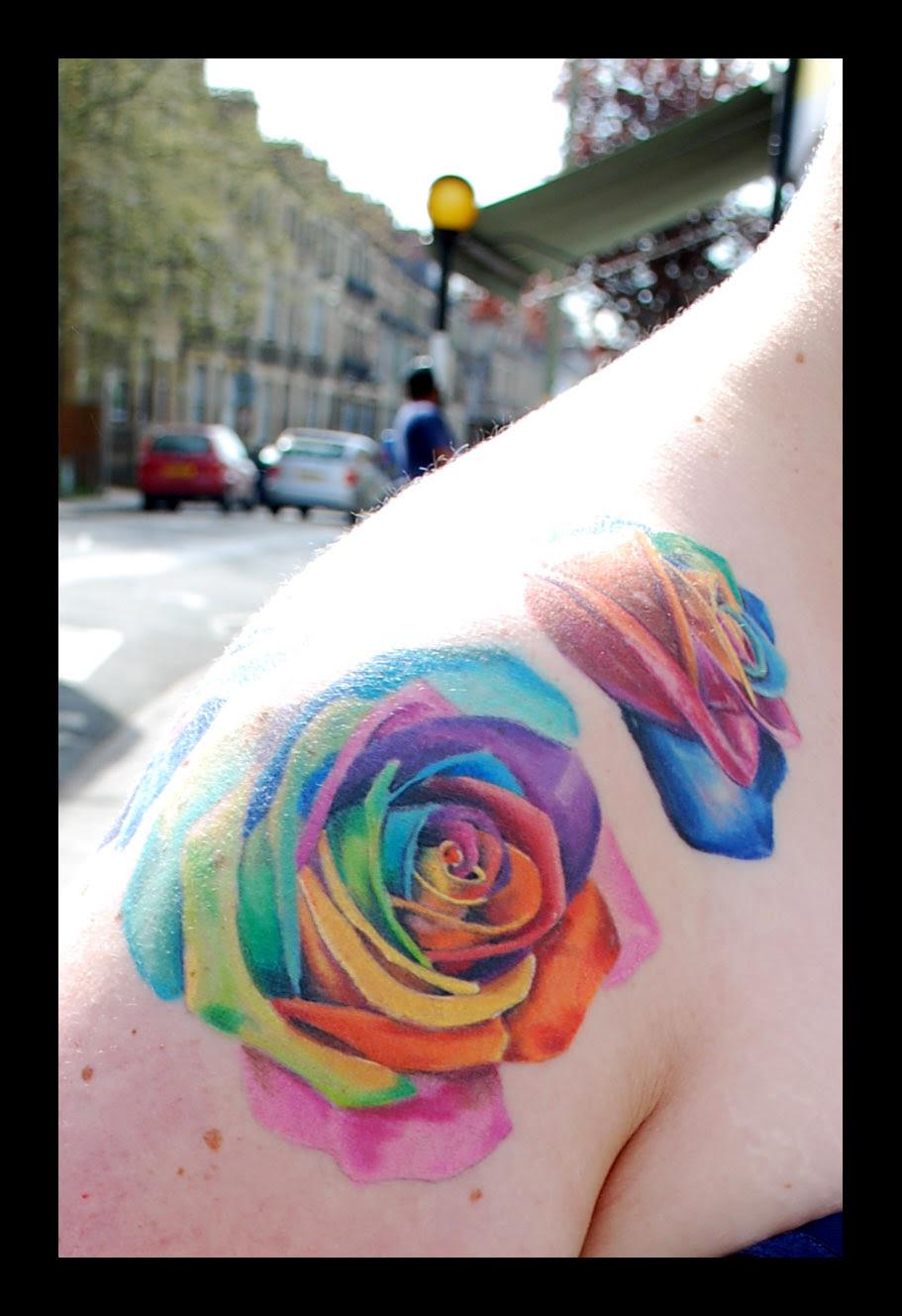 11 Best Rainbow Rose Tattoo Images