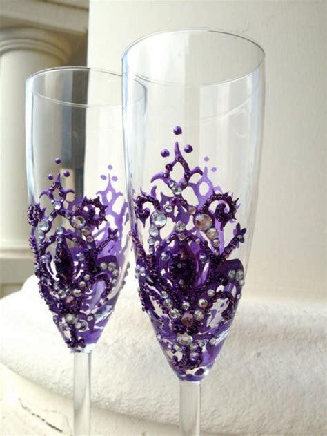 Wedding Champagne Glasses With A Fleur de lis Decoration