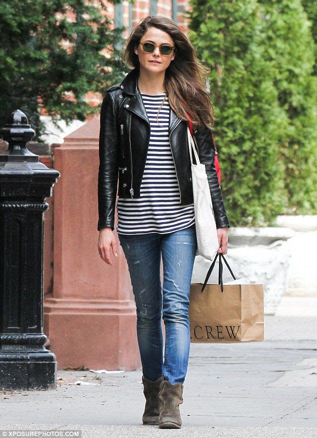 Le Fashion Blog -- 3 Ways To Wear A Striped Tank Top: Keri Russell With A Leather Moto Jacket, Distressed Skinny Jeans And Brown Suede Boots -- photo Le-Fashion-Blog-3-Ways-To-Wear-A-Striped-Tank-Top-Kerri-Russell-Leather-Jacket.jpg