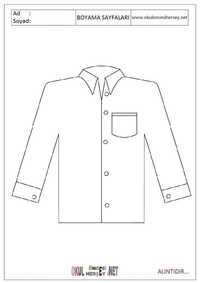 Gömlek Boyama Sayfaları