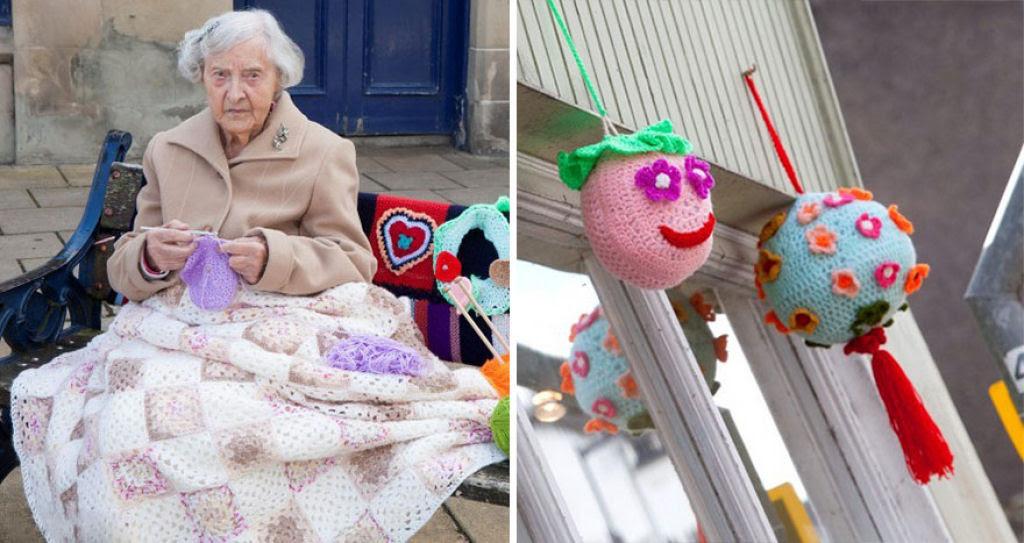 Artista urbana de 104 anos enche sua cidade com suas obras de crochê 05