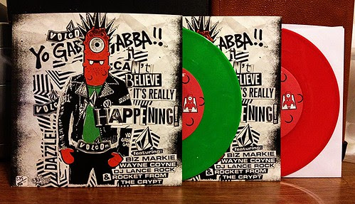 "Rocket From The Crypt / Biz Markie & Wayne Coyne - Yo Gabba Gabba: I Can't Believe It's Really Happening 7"" - Green & Red Vinyl by Tim PopKid"
