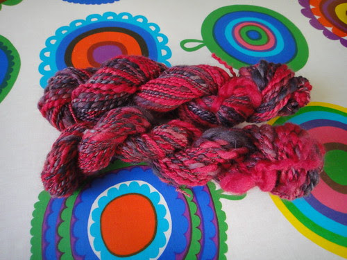 My first handspun with a spinning wheel!