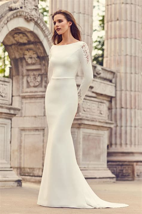 Long Sleeve Crepe And Lace Fit And Flare Wedding Dress