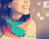 Feather Cowl Neckwarmer Reversible Turquoise Orange Scarf Circle scarf OOAK - KandyDisenos