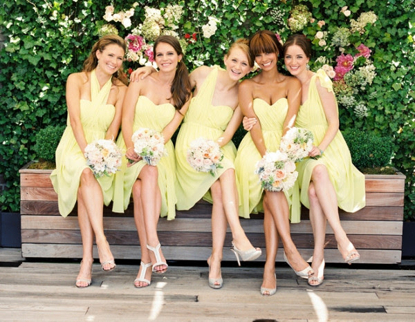 Pretty Yellow Shade Tea Length Mismatched Bridesmaids Dresses