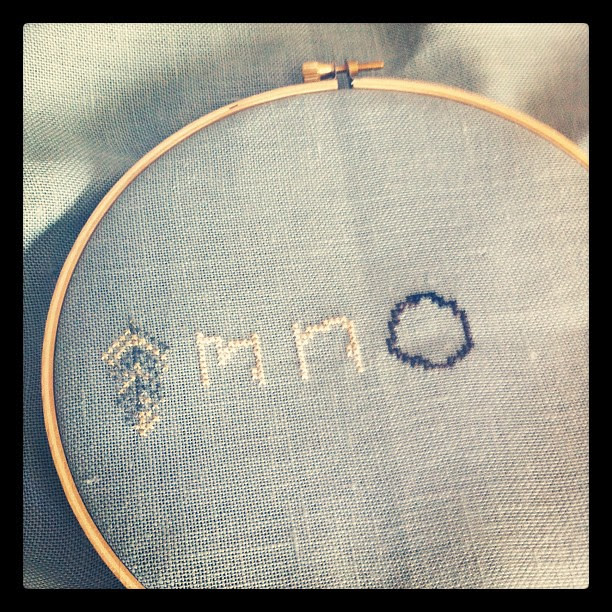 Started in the middle! Love this variegated thread!