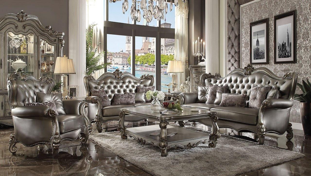 Versailles Sofa 56820 In Silver PU Antique Platinum By Acme