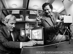 Willard Boyle, left, and George Smith handle a charge-coupled device in 1974.