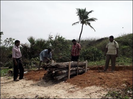 Preparations at the cremation site in KKS on Tuesday
