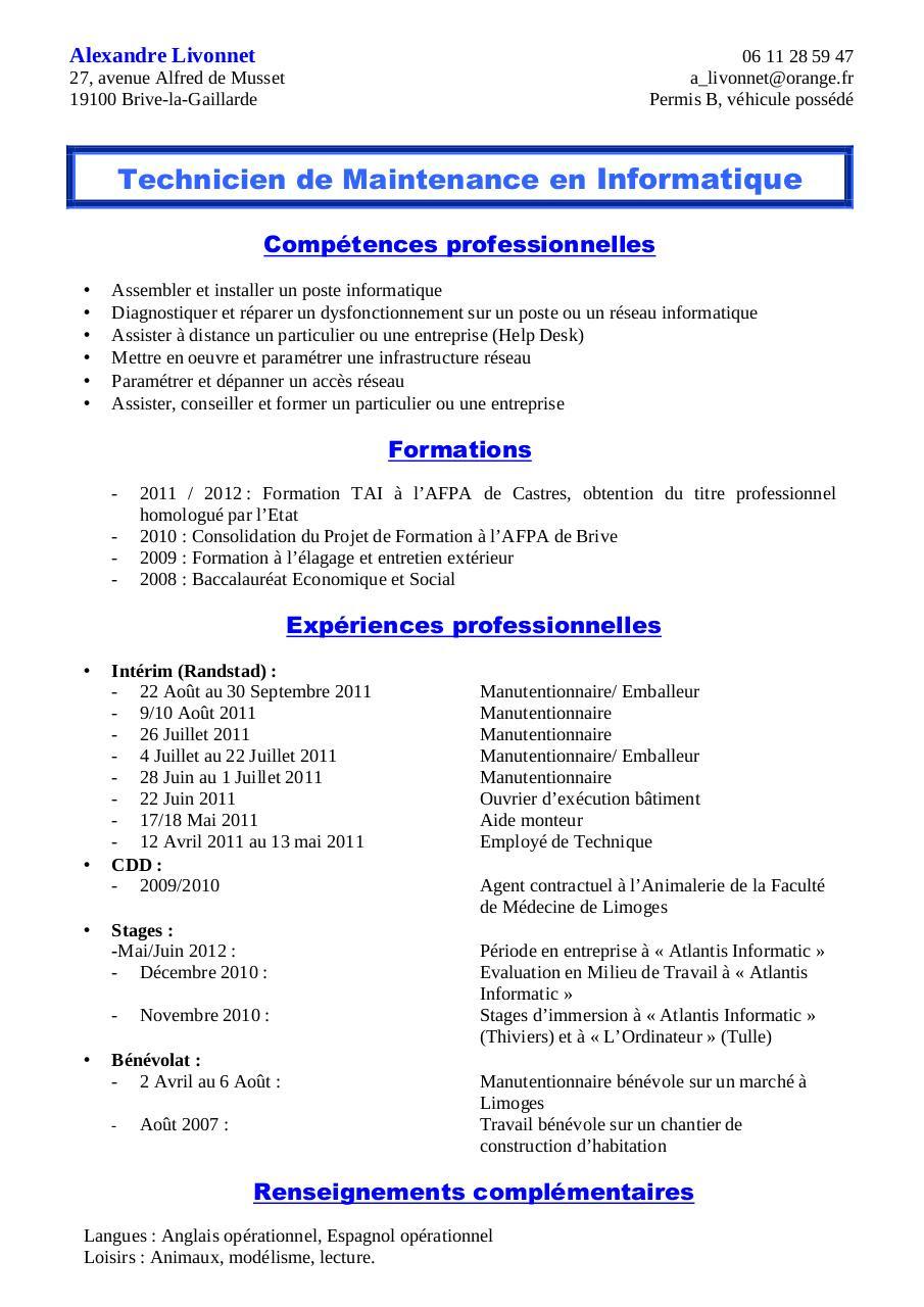 resume format  mod u00e8le de cv gratuit manutentionnaire