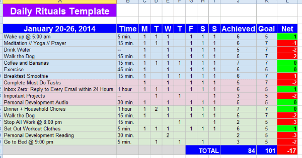 Daily Schedule Excel Sheet   Daily Agenda Calendar