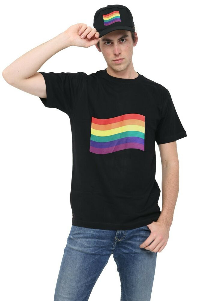 mens gay pride rainbow print multicolour tshirt gay