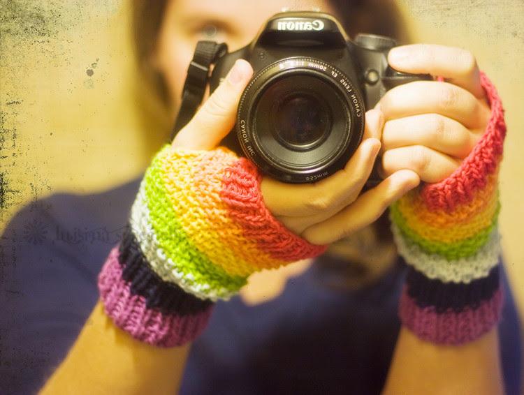 . rainbow mittens .