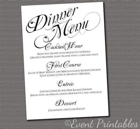 Printable Menu Card, Wedding Reception Dinner Menu, Black