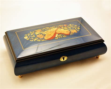 Large Dark Blue Musical Inlay Jewelry Music Box   Sorrento