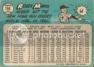 #155 Roger Maris (back)