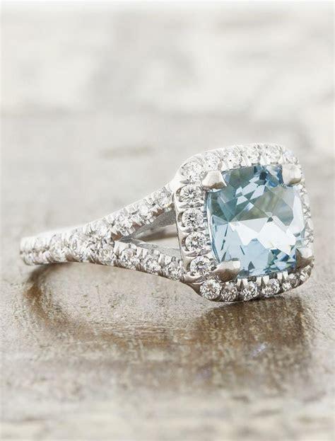 Suresha: Halo Cushion Cut Aquamarine Engagement Ring   Ken
