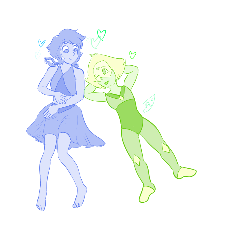 I doodled a quick little Lapidot sketch because these two are precious, and it kills me how happy and goofy Lapis is with Peridot and how protective Peridot gets over her.