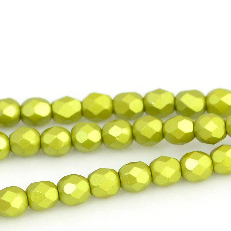 27099000-10 Firepolish - 4 mm Faceted Round - Pearl Pastel Khaki (strand 45)