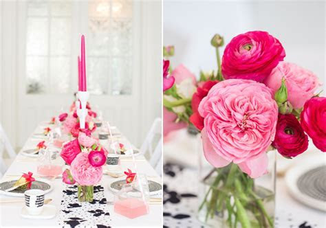 Modern pink, black & white party ideas   100 Layer Cake