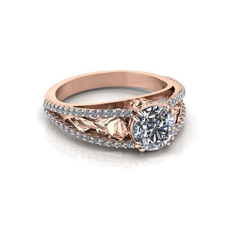 Pink Gold Rose Engagement Ring   Jewelry Designs
