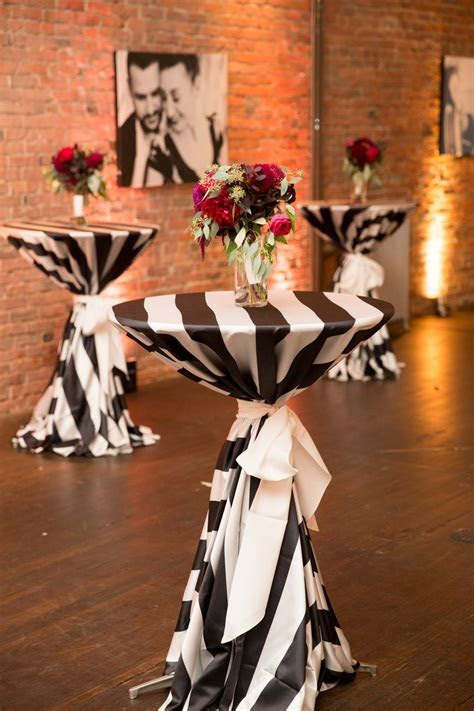 Black and White Cocktail Table Linens   Burgundy Bouquet