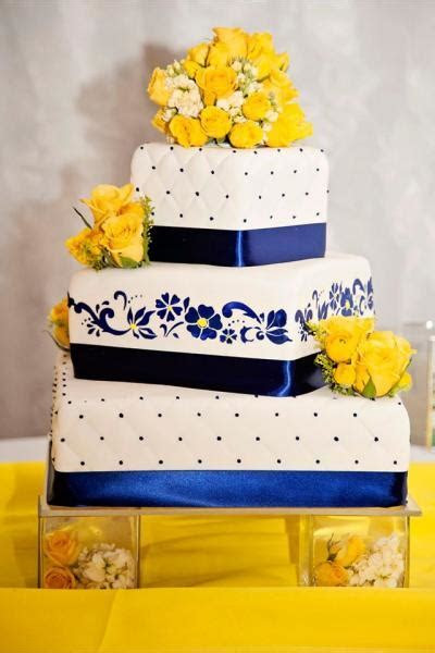 Blue and Yellow Wedding Cake   Wedding Cakes