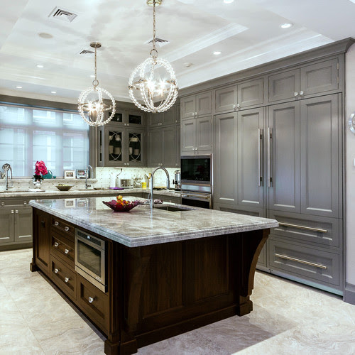 Stunning kitchen. Cabinets painted with Benjamin Moore Timber Wolf.