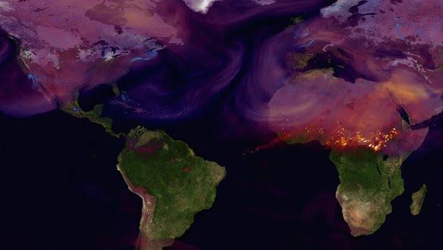Imagen de distribución de emisiones del satélite OCO-2 de la NASA