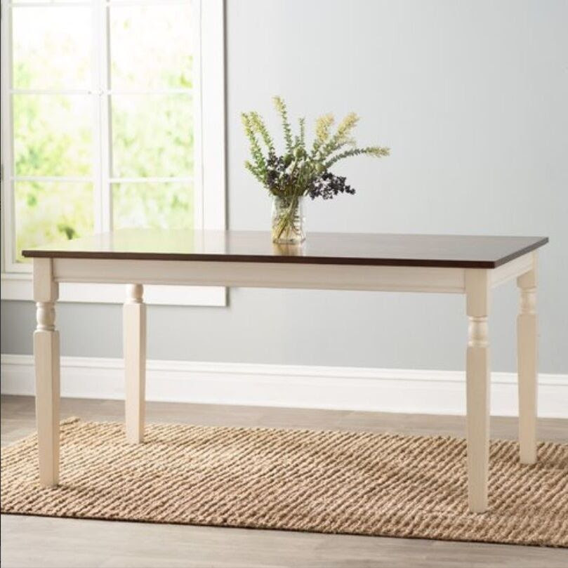Farmhouse Dining Table Home Kitchen Solid Wood Cottage Dining Room Tables 2 Tone  eBay