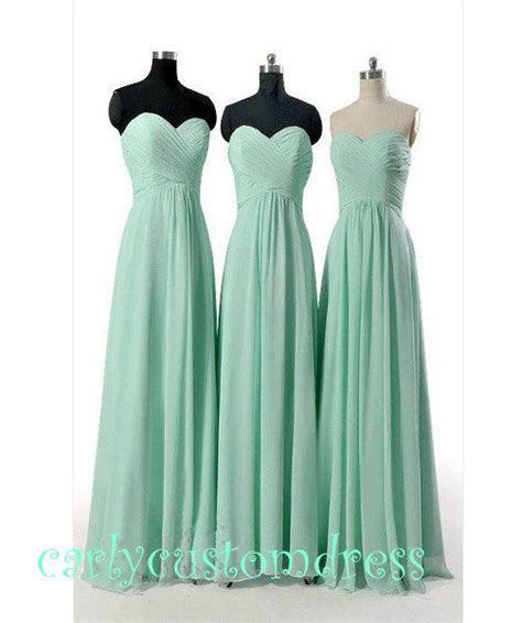 Cheap Long Mint Chiffon Bridesmaid Dress Coral Blue Peach