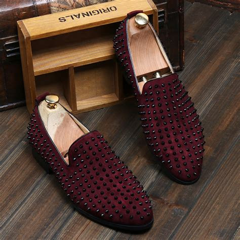 fashion mens slip  loafer punk suede studded casual dress shoes ebay