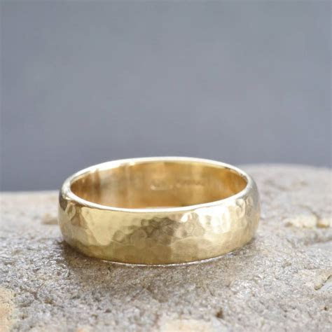 handmade gold lightly hammered wedding ring by muriel