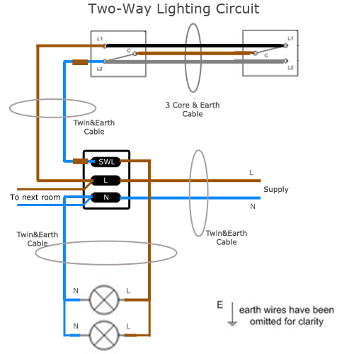 Two Way Lighting Circuit Wiring Sparkyfacts Co Uk