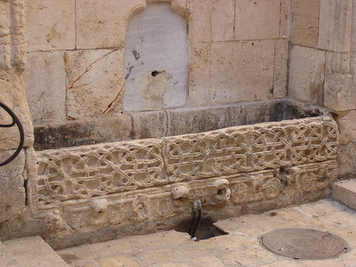 Sarcophagus made into water trough
